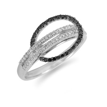 14K WG Black and White Diamond Inter-loop Ring