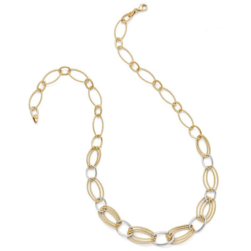 Leslie's Leslie's Sterling Silver Gold-tone Flash 18k Plated Link Necklace