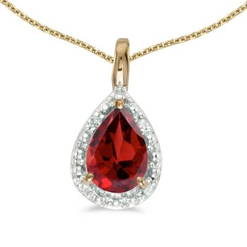 10k Yellow Gold Pear Garnet Pendant