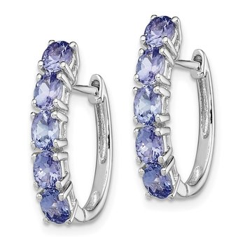 Sterling Silver Rhodium-plated Oval Tanzanite Hinged Hoop Earrings