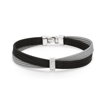 Black & Grey Cable Petite Bow Bracelet with 18kt White Gold & Diamonds