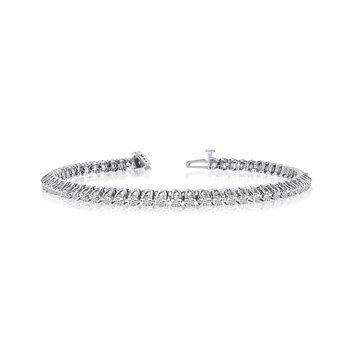 14k White Gold 3 Ct. Diamond 4-Prong Bracelet