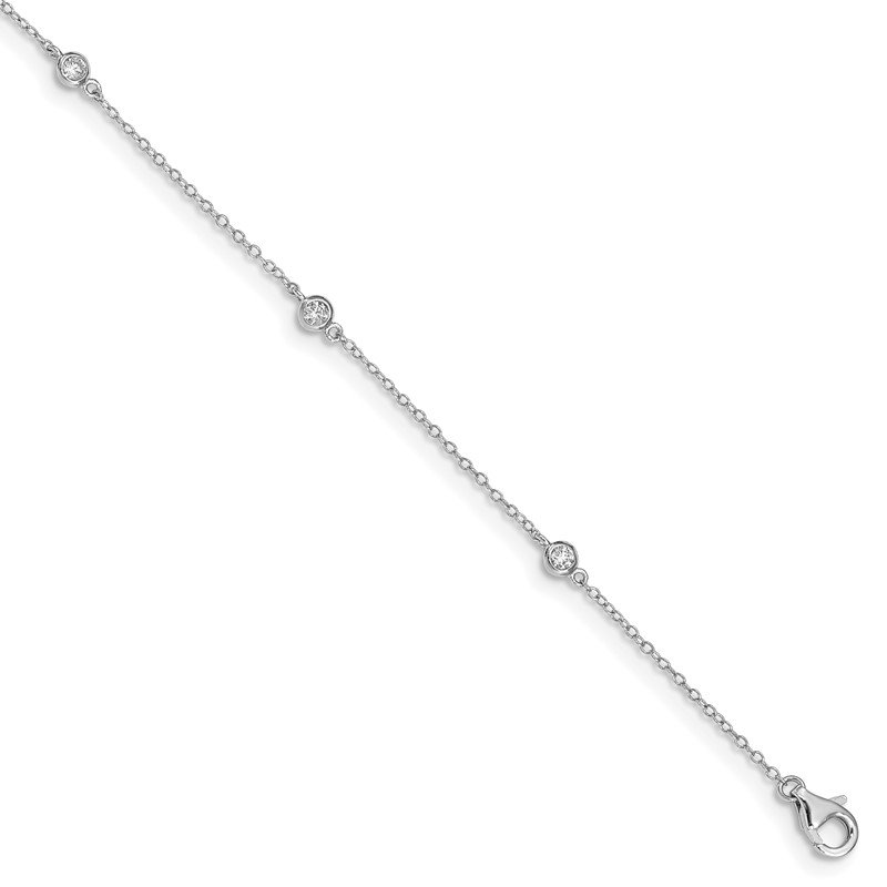 Quality Gold Sterling Silver Rhodium-plated Bezel CZ 9in Plus 2in Ext. Anklet