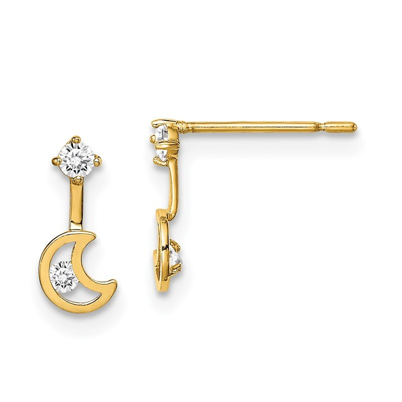 Quality Gold 14k Madi K Moon Dangle with CZ Post Earrings