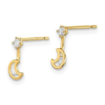 14k Madi K Moon Dangle with CZ Post Earrings