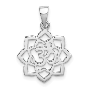 Sterling Silver Rhodium-plated Lotus w/Om Center Pendant