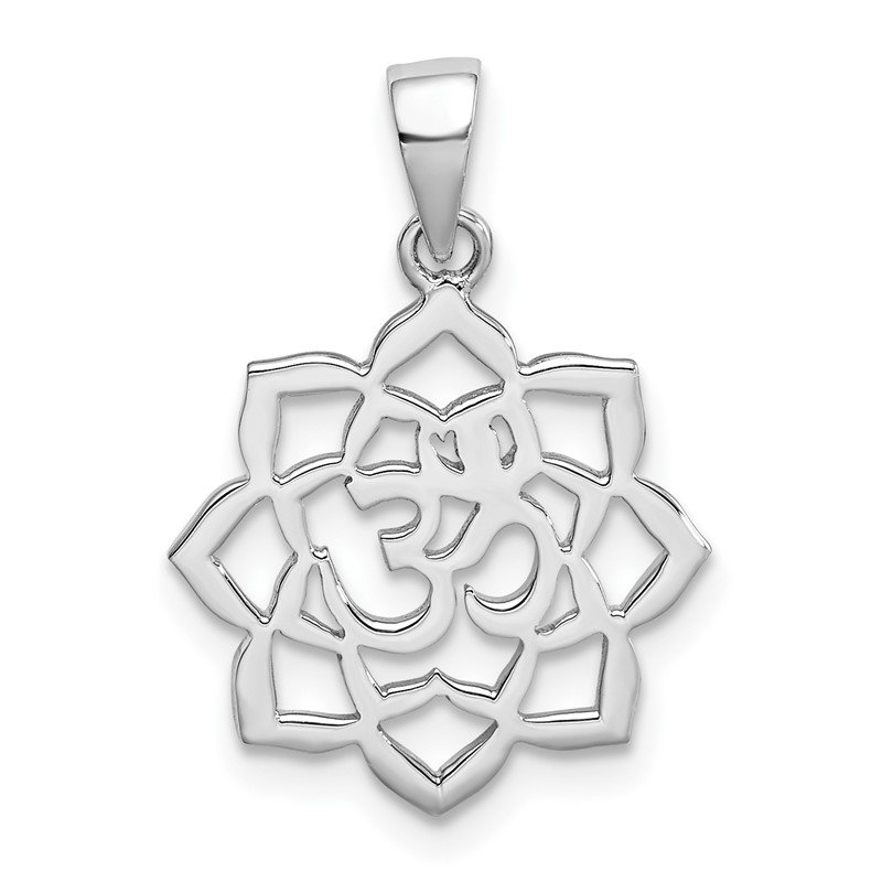 Quality Gold Sterling Silver Rhodium-plated Lotus w/Om Center Pendant