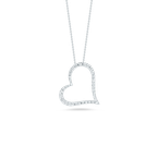 Roberto Coin Slanted Heart Pendant With Diamonds &Ndash; 18K White Gold