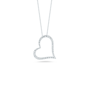 Slanted Heart Pendant With Diamonds &Ndash; 18K White Gold