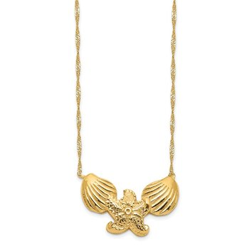 14K Polished Shell Starfish Necklace
