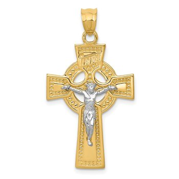 14k Two-tone INRI Celtic Crucifix Pendant