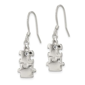 Sterling Silver Polished CZ Puzzle Pieces Dangle Earrings