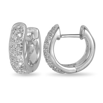 14K WG Diamond Hoops/Huggies Ear-rings