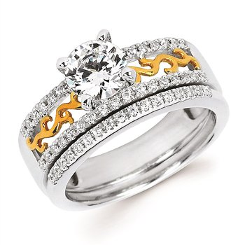 Detailed Two Toned Engagement Ring