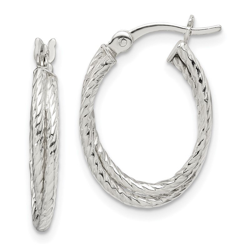Quality Gold Sterling Silver Twisted and Textured Hoop Earrings