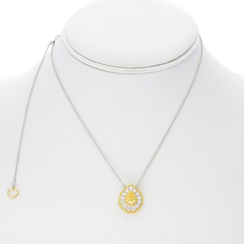 Triple Halo Fancy Yellow Diamond Necklace
