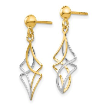 14k Two-tone Post Dangle Earrings
