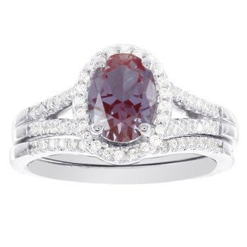 14k White Gold Oval Created Alexandrite and Diamond Halo Bridal Set