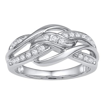 10kt White Gold Womens Round Diamond Woven Knot Strand Band 1/4 Cttw