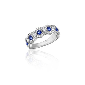Endless Romance Sapphire and Diamond Wave Ring