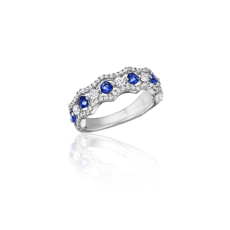 Fana Endless Romance Sapphire and Diamond Wave Ring