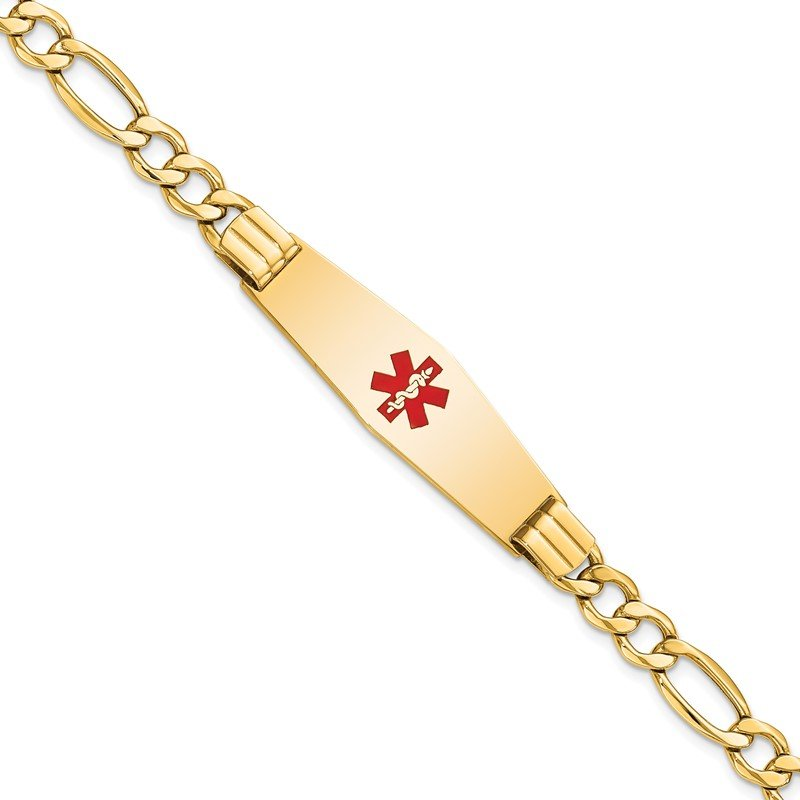 Quality Gold 14K Semi-Solid Medical Soft Diamond Shape Red Enamel Figaro ID Bracelet
