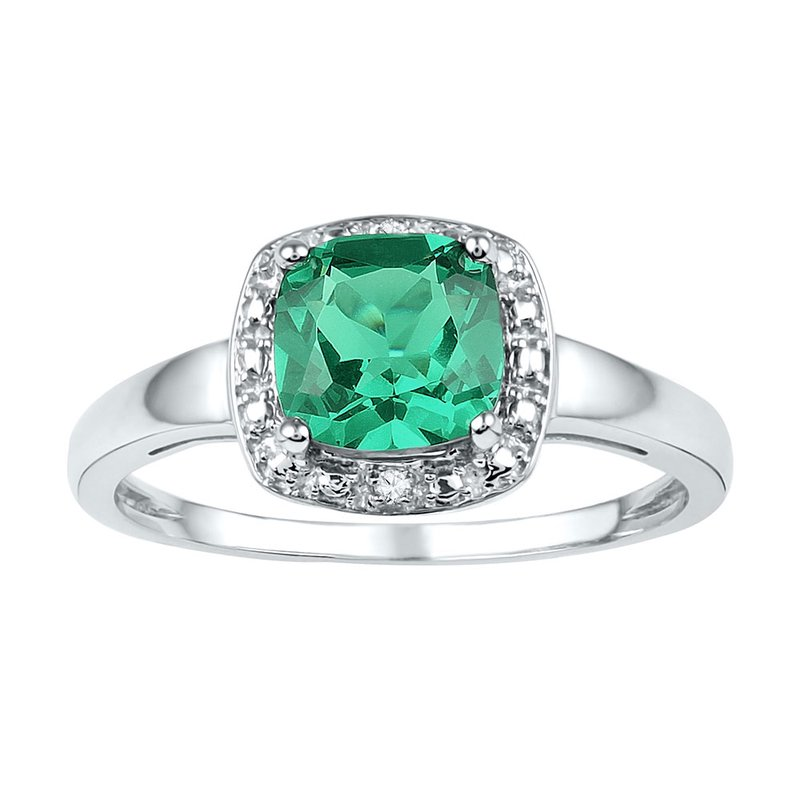 Gold-N-Diamonds Sterling Silver Womens Cushion Lab-Created Emerald Solitaire Diamond Ring 1-3/4 Cttw