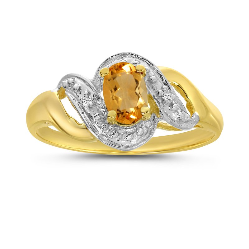 Color Merchants 10k Yellow Gold Oval Citrine And Diamond Swirl Ring