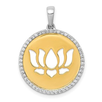 14k Two-tone Diamond Lotus Flower Pendant