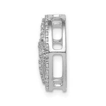 14k White Gold Diamond Celtic Circle Chain Slide