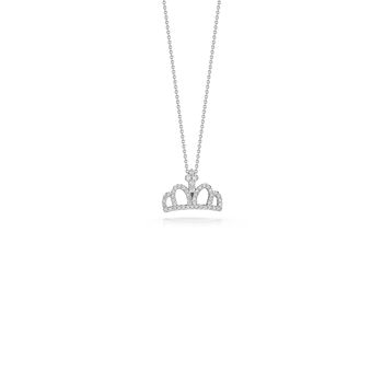 18Kt Gold Crown Pendant With Diamonds