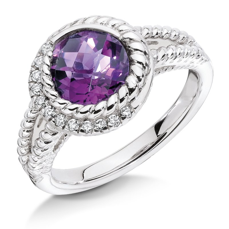 Colore SG Sterling silver, purple amethyst and diamond ring