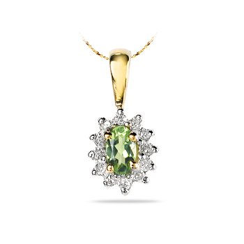 14K YG Diamond & Peridot All Purpose Pendant