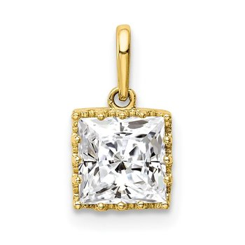 10k Tiara Collection Polished Square CZ Pendant