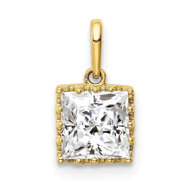 Quality Gold 10k Tiara Collection Polished Square CZ Pendant