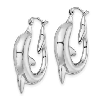 Sterling Silver Rhodium-plated Dolphin Hoop Earrings