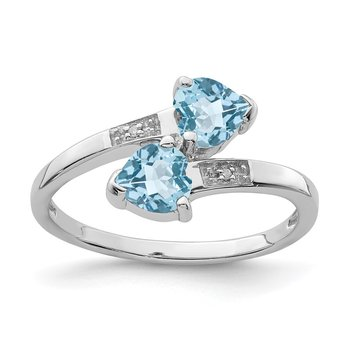 Sterling Silver Rhodium Light Swiss Blue Topaz & Diamond Heart Ring