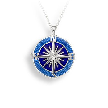 Blue Compass Rose Necklace.Sterling Silver-White Sapphire