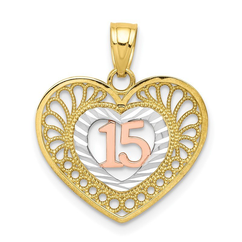 Quality Gold 10K Two-tone w/White Rhodium 15 Heart Pendant