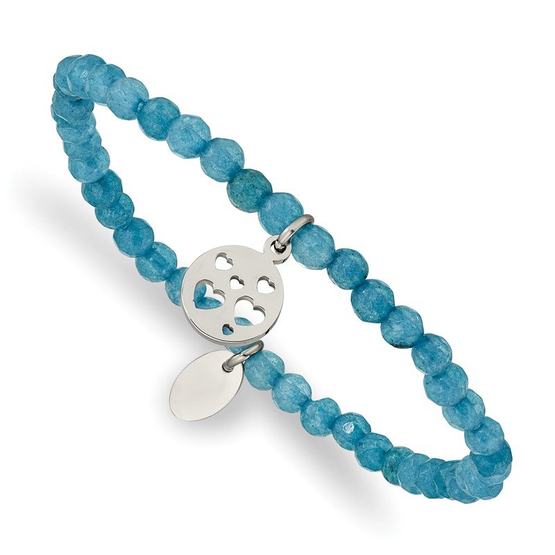 Chisel Stainless Steel Polished Hearts Blue Jade Beaded Stretch Bracelet