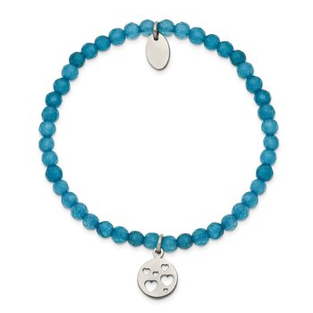 Stainless Steel Polished Hearts Blue Jade Beaded Stretch Bracelet