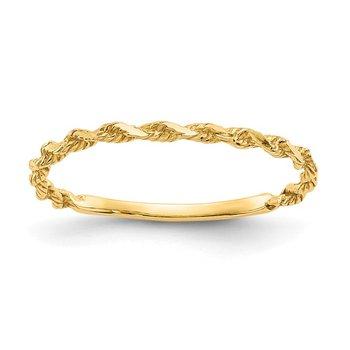 14K Diamond-cut Textured Rope Band Ring