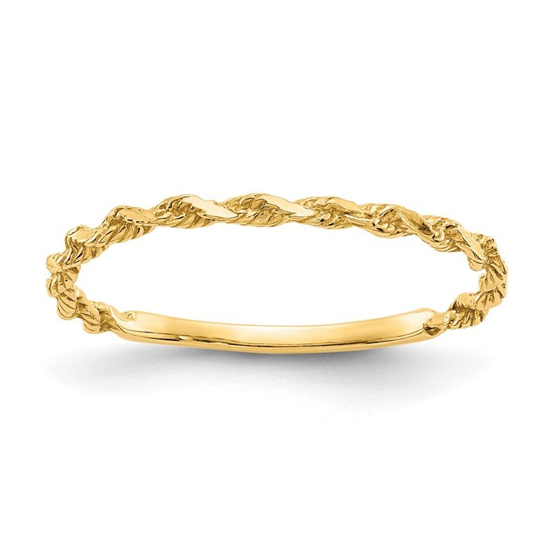 Quality Gold 14K Diamond-cut Textured Rope Band Ring