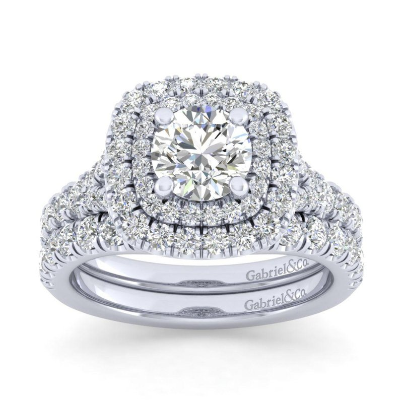Gabriel Bridal 14K White Gold Cushion Double Halo Round Diamond Engagement Ring
