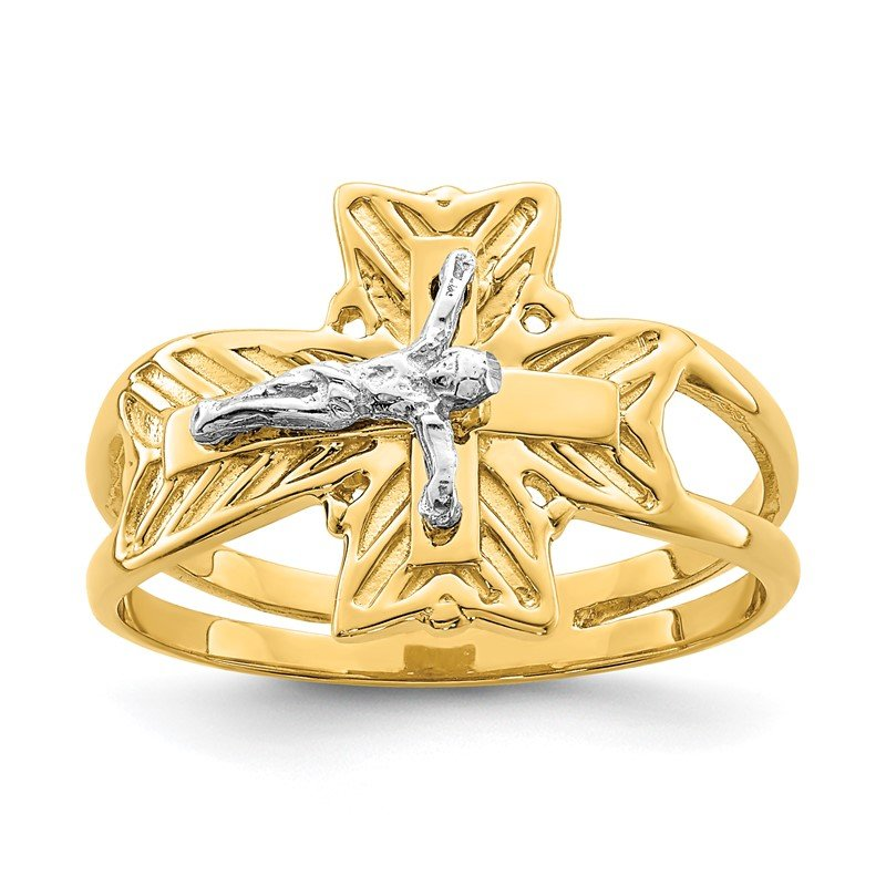 Quality Gold 14K Two-tone Polished Crucifix Ring