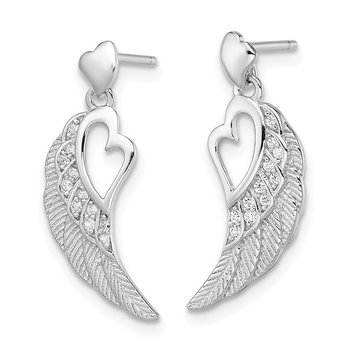 Sterling Silver RH-plated CZ Open Heart on Wings Post Drop Earrings