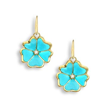 Turquoise Rose Wire Earrings.18K -Diamonds - Plique-a-Jour