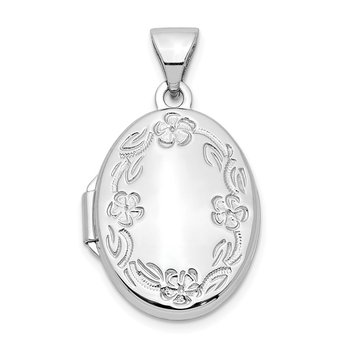 14k White Gold 17mm Oval Leaf Floral Hand Engraved Locket