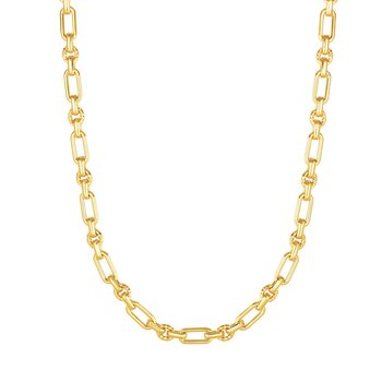14K Gold Polished & Diamond Cut Elongated Oval Link Chain