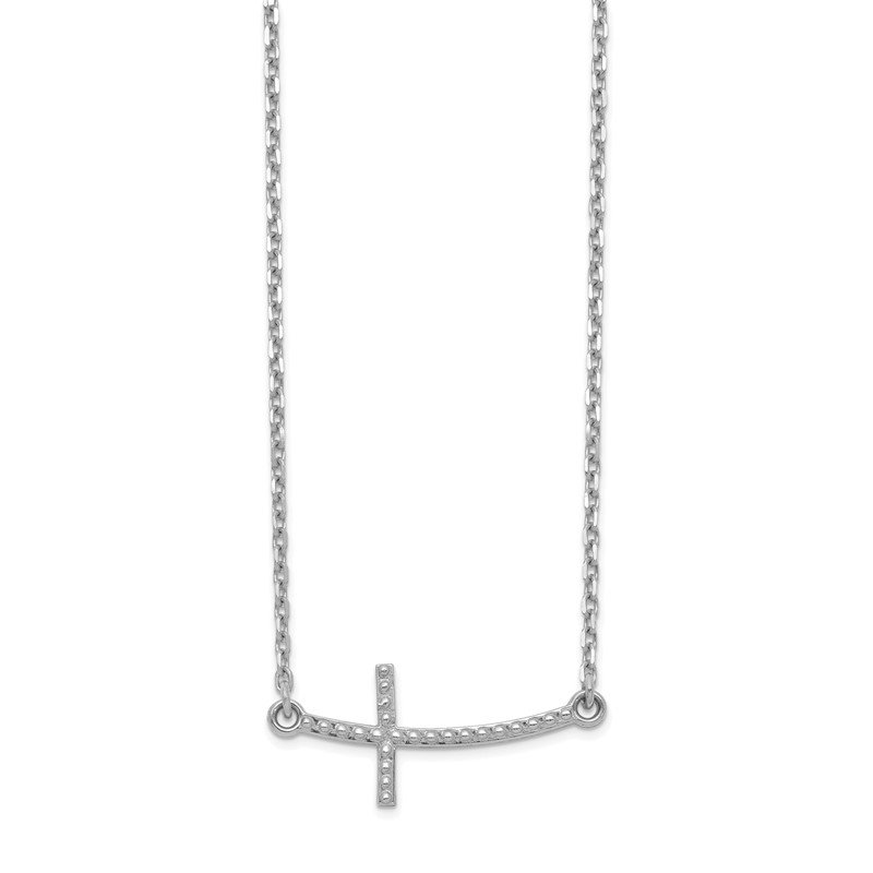 Quality Gold 14k White Gold Sideways Curved Textured Cross Necklace